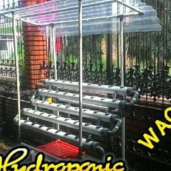 Instalasi hidroponik DFT plus Atap