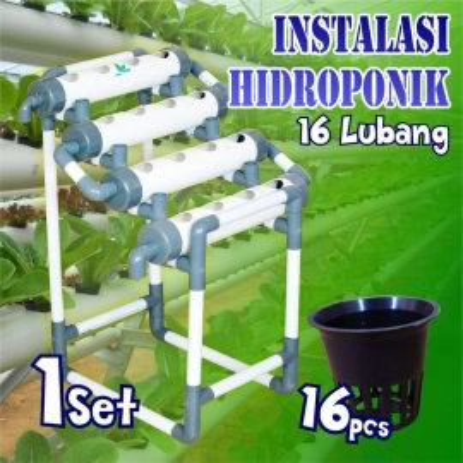 Instalasi Hidroponik Pipa 16Hole